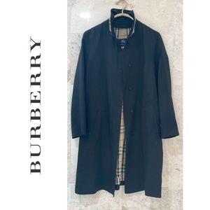 BURBERRY {8R} Black Rain Coat Nova Check Collar